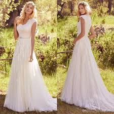 discount modest country wedding dresses 2017 small v neck capped
