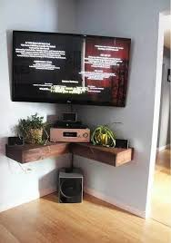 tv stands wonderful corner tv stand with mount flat screen television with wooden floating shelf