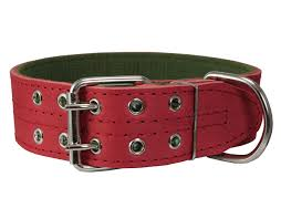 genuine leather dog collar padded red 1 5 wide fits 18 22 neck com