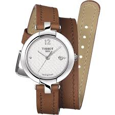 las pinky brown leather double wrap watch