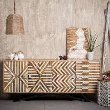Native Home Sideboard Holz Mit Muster Modern Massiv