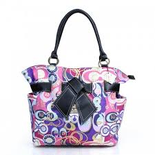 Coach Poppy Bowknot Fashion Medium Purple Totes DZH