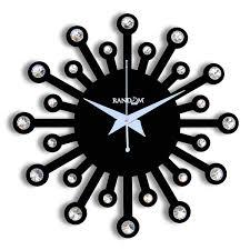 random clocks jewel round wood wall clock