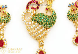 22k gold peacock pendant earring set with cz color stones 235