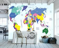 map decal wall art world map wallpaper removable wall mural animal world map removable wallpaper l