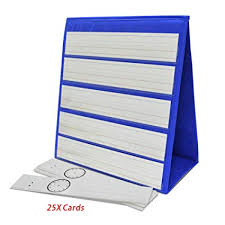 Godery Tabletop Desktop Pocket Chart 25x Dry Erase Cards Double Sided Pocket Charts Stand For Classroom 13 X 12