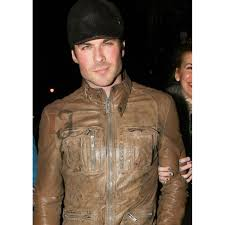 ian somerhalder brown leather jacket celebrities jackets for
