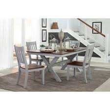 Back Home Furniture Custom Intercon Small Space 48 Piece Trestle Table And Slat Back Chair Set
