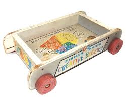 details about vintage wooden fisher creative blocks pull toy wagon 161