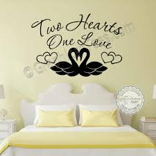 romantic bedroom wall decals. Two Hearts One Love Romantic Bedroom Wall Stickers Quote Swans Vinyl Decor Decals O