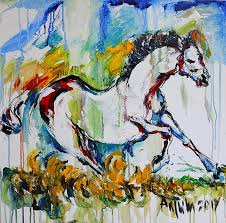 horse painting abstract original oil on canvas painting 24x1 5x24 in