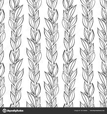 シンプルな手描きの葉植物のパターンシームレスなベクトルの線形花柄