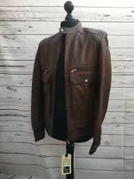 Details About Sir Raymond Tailor Mens Brown Leather Bomber Biker Jacket Size M S19630507