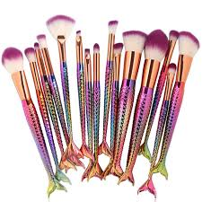 professional 15pcs multicolor mermaid rainbow makeup brushes unicorn foundation tool