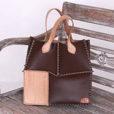 hand made brown and camel leather tote patchwork handbag urban safari