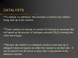 catalysts a catalyst is a substance that increases a reaction rate without being used 7 remember the yeast and hydrogen peroxide