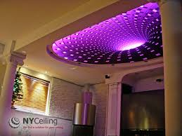 fabric seamless stretch ceiling with 3d print dark hole and led strip lighting