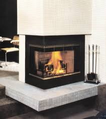 Decorations:Enchating Contemporary Corner Fireplace Design With Glass Cover  Also Wood Burner Material Amazing Modern