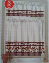 Kitchen Curtains With Rooster Designs Amazon Com Rooster Design Kitchen Curtain Set 3 Pc Tiers