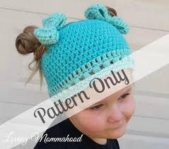 Ponytail Beanie Crochet Pattern Mesmerizing Girls Messy Bun Hat Crochet PATTERN ONLY Ponytail Hat