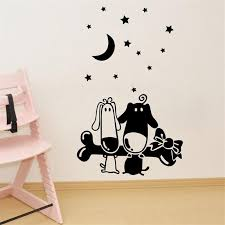 Small Picture 67x42cm Cartoon Dog Bone Moon Star Design Wall Sticker Removable
