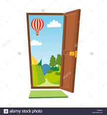 open front door illustration. Interesting Door Open Door Vector Cartoon Landscape Front View Flat Isolated Illustration To Illustration