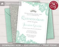 Quincenera Invitations Quinceanera Birthday Invitation With Mint Green Lace And Silver Glitter