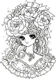 Small Picture Manga flowers girl Manga Anime Coloring pages for adults