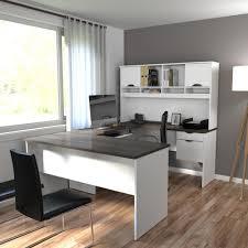 com bestar innova u desk with hutch in white and antigua office s