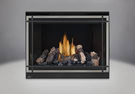 phazer log set mirro flame porcelain reflective radiant panels classic resolution front with overlay in brushed nickel with black straight accent bars