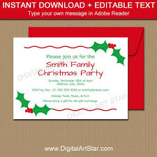 Printable Holiday Party Invitations Editable Christmas Party Invitation Christmas Holly Invite