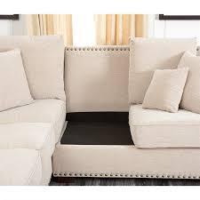 abbyson bromley fabric nailhead sectional sofa in sandstone thumbnail