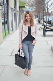 gray jeans with blush leather jacket outfit through to see more casual outfits or