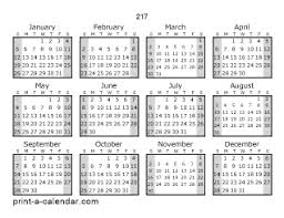 Calendar 217 217 One Page Yearly Calendar With Shaded Weekends