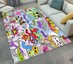 crazy graffiti hip hop pattern floor mat soft area rugs for bedroom living room