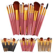 black gold pink 18pcs makeup brush set tools make up toiletry kit wool make up