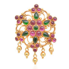 ruby emerald gold coated silver pendant from grt