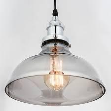 industrial modern vintage smoke grey glass lamp shade pendant ceiling light