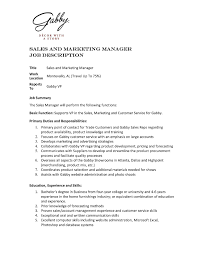 Sales Manager Job Description Resume Best Of Best Ideas Sales And