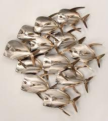 lookdown fish school of 12 metal fish