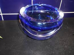 vintage retro thick heavy geode glass dish cobalt blue clear krosno dull uv glow