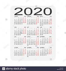 Calendar 2020 Calendar Sheet Two Days Off A Week Stock