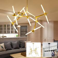 Tree branch lighting Outdoor Tree Branch Gold Simple Ceiling Hanging Light Lamp Led Rotatable Modern Glass Tube Rod Pipe Led Pendant Light For Foyer Living Woohome Tree Branch Gold Simple Ceiling Hanging Light Lamp Led Rotatable