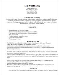 Physical Therapy Resume Techtrontechnologies Com