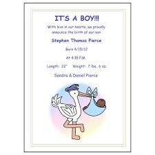 Pastel Stork Baby Boy Birth Announcements Mandys Moon Personalized