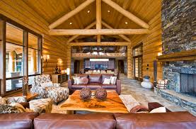 Ranch log home Rustic Living Room Vancouver by Sitka Log Homes