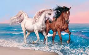 photo horses two water animals painting art 2880x1800 2