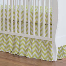 Light Green Crib Skirt Light Lime Zig Zag Crib Skirt 17 Inch Gathered