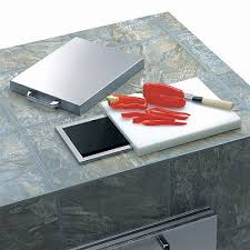 get ations lynx countertop trash shute with cutting board and cover frontgate