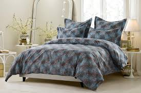 5pc fl blue brown duvet cover set style 1022 cherry hill collection